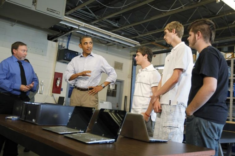 U.S. President Barack Obama speaks with students in the computer lab at Bluestone High School in Skipwith, Virginia, October 18, 2011. REUTERS/Jason R...