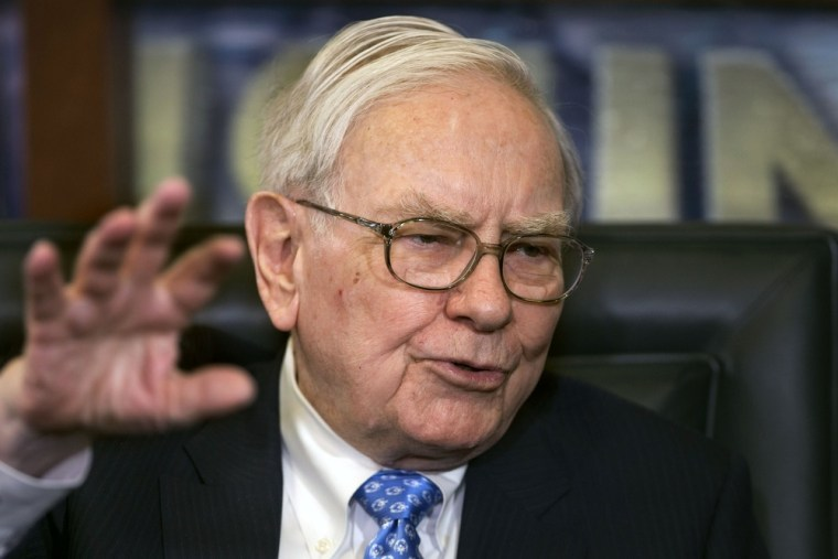 Berkshire Hathaway CEO and Chairman Warren Buffett speaks during an interview with Liz Claman of the Fox Business Network, in Omaha, Neb., Monday, May...