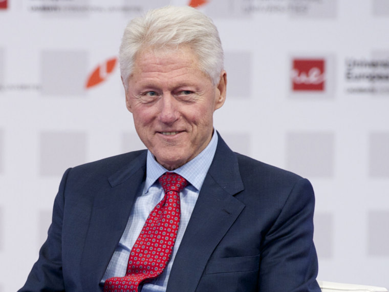 """MADRID, SPAIN - MAY 21:  Bill Clinton attends \""""Laureate Summit On Youth And Jobs\"""" at Universidad Europea on May 21, 2013 in Madrid, Spain.  (Photo by ..."""