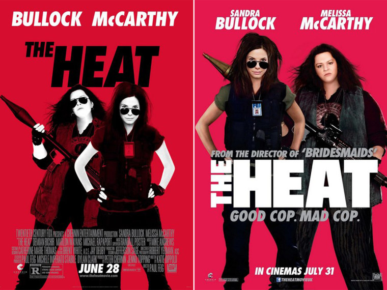 """The UK poster for \""""The Heat\"""" (right) and the US version."""
