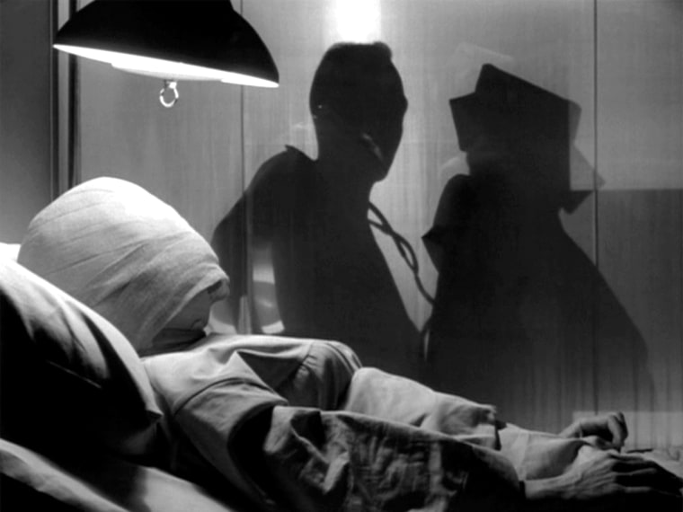 """Image: Maxine Stuart, bandaged in """"Eye of the Beholder."""""""