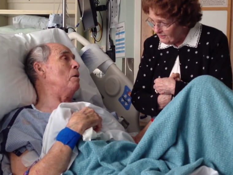 Utah man James Pinegar sings lovingly to his wife of 66 years from his hospital bed while recovering from a blood infection.