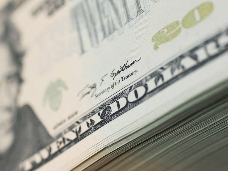 WASHINGTON, DC - JULY 22:  Treasury Secretary's Timothy Geithner's signature can be seen on a new twenty dollar bill, at the Bureau of Engraving and P...