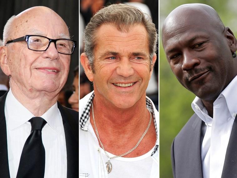 IMAGE: Rupert Murdoch, Mel Gibson and Michael Jordan