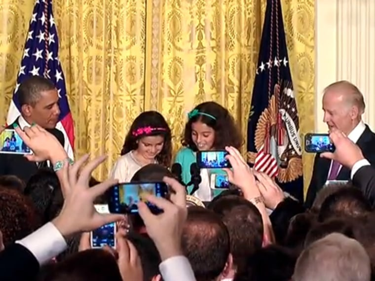 Twin sisters Zea and Luna Weiss-Wynne introduced President Barack Obama at a reception celebrating LGBT Pride Month at the White House.