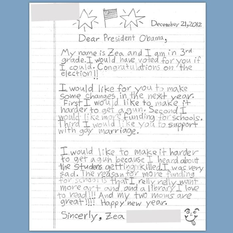 The girls wrote their letter in December 2012.