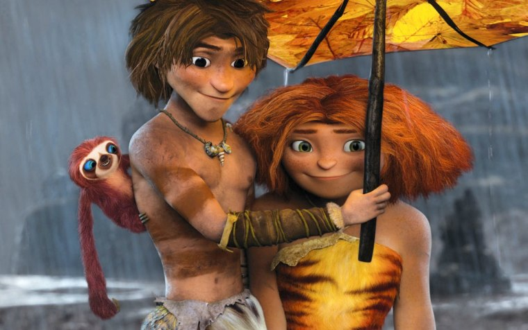 This film publicity image released by DreamWorks Animation shows, from left, Belt the sloth, voiced by Chris Sanders, Guy, voiced by Ryan Reynolds, an...