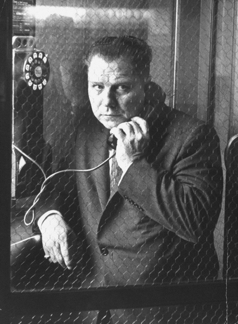 President of Teamsters Union Jimmy Hoffa makes a phone call.