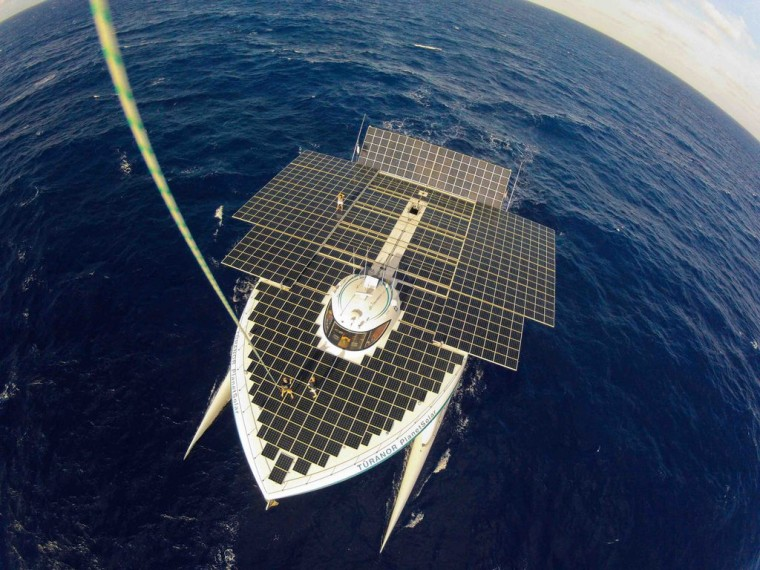 The boat's top deck is covered in 516 square meters of solar panelling.