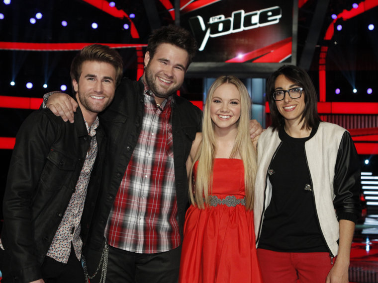 """Image: """"Voice"""" finalists Colton and Zach Swon of The Swon Bros, Danielle Bradbery and Michelle Chamuel."""