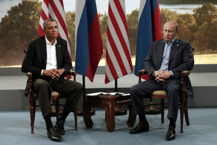 President Barack Obama meets with Russian President Vladimir Putin during the G-8 Summit at Lough Erne in Enniskillen, Northern Ireland, on June 17, 2013.