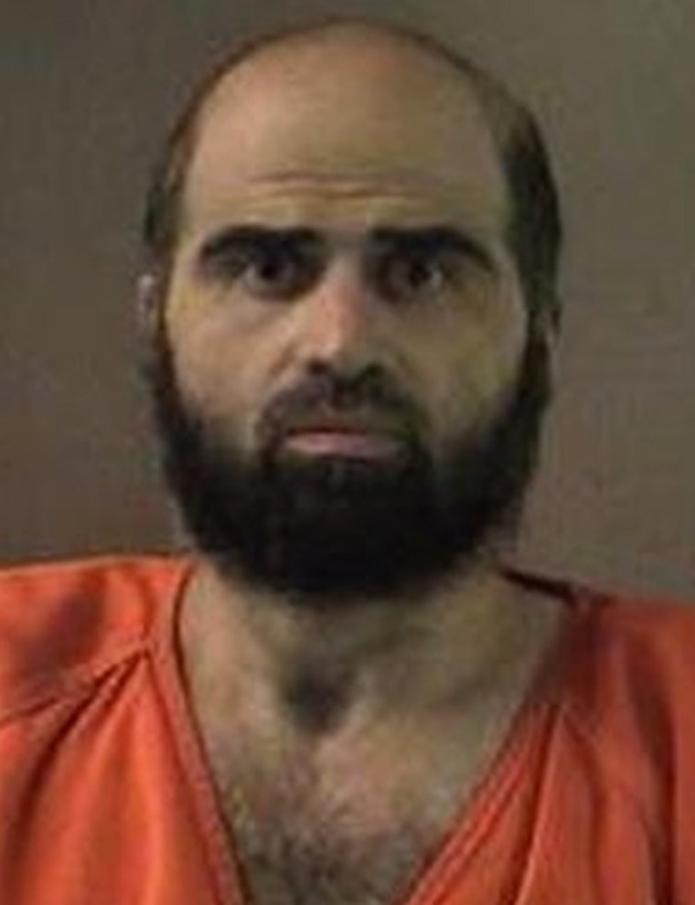 Nidal Hasan, charged with killing 13 people and wounding 31 in a November 2009 shooting spree at Fort Hood, Texas, is pictured in an undated Bell County Sheriff's Office photograph.
