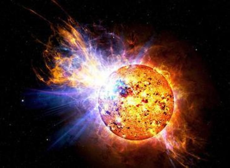 An illustration of a flare star. Scientists recently looked on as WX UMa, a flare star that lies in a binary system in Ursa Major roughly 15.6 light years from Earth, got fired up.
