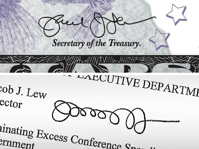 The official signature of Treasury Secretary Jack Lew on a $5 bill, top, and Lew's signature on a 2011 memo.