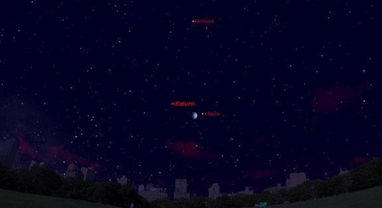 This sky map for shows the location of Saturn, Spica and Arcturus in the night sky for June 18. The trio form a cosmic triangle in the northern summer months.