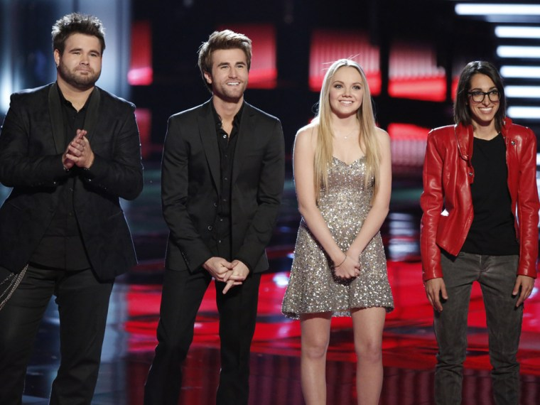 """THE VOICE -- Episode 419A """"Live Show"""" -- Pictured: (l-r) Zach Swon, Colton Swon of The Swon Brothers, Danielle Bradbery, Michelle Chamuel -- (Photo by..."""