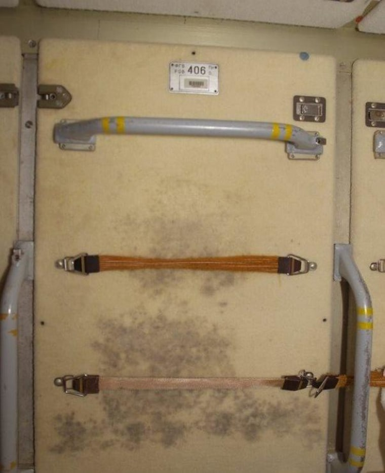Mold discolors a panel where International Space Station crew members hung their exercise clothes.