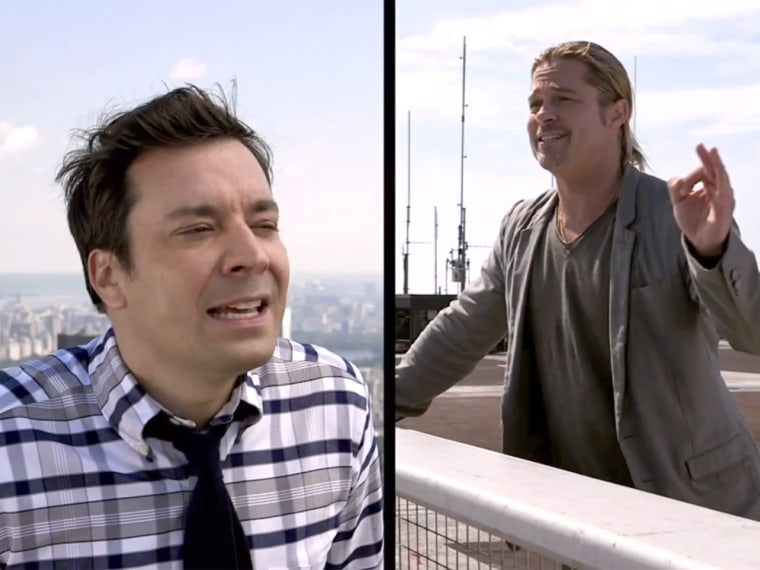 Jimmy Fallon, Brad Pitt share a 'double yodel' from New York rooftops