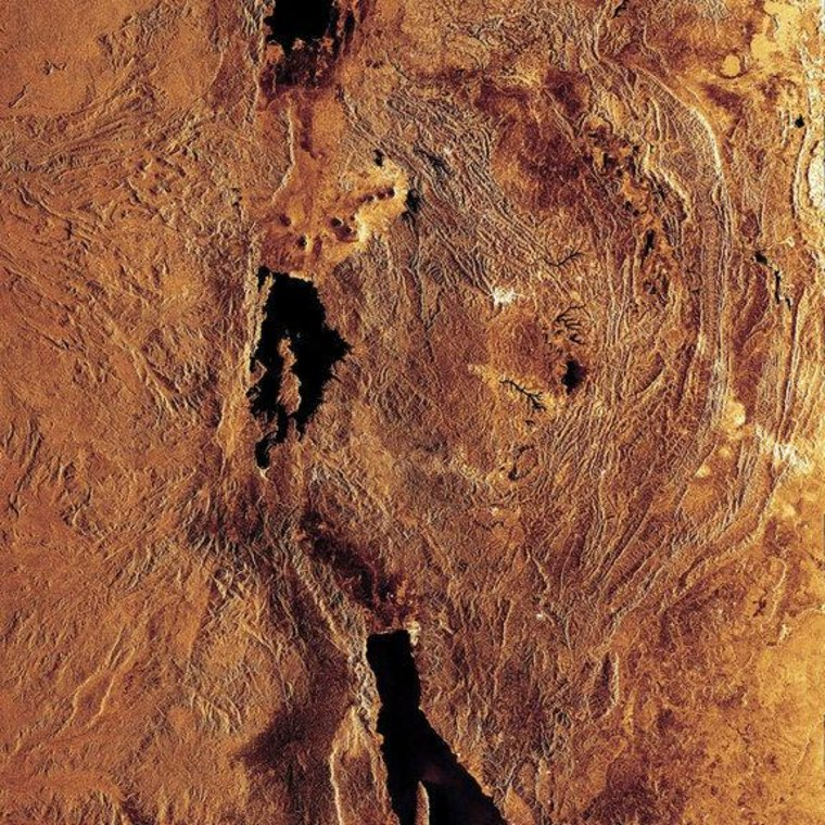 A radar image highlights portions of three of the lakes located in the Western Rift of the Great Rift Valley, a geological fault system of Southwest Asia and East Africa: Lake Edward (top), Lake Kivu (middle) and Lake Tanganyika (bottom).