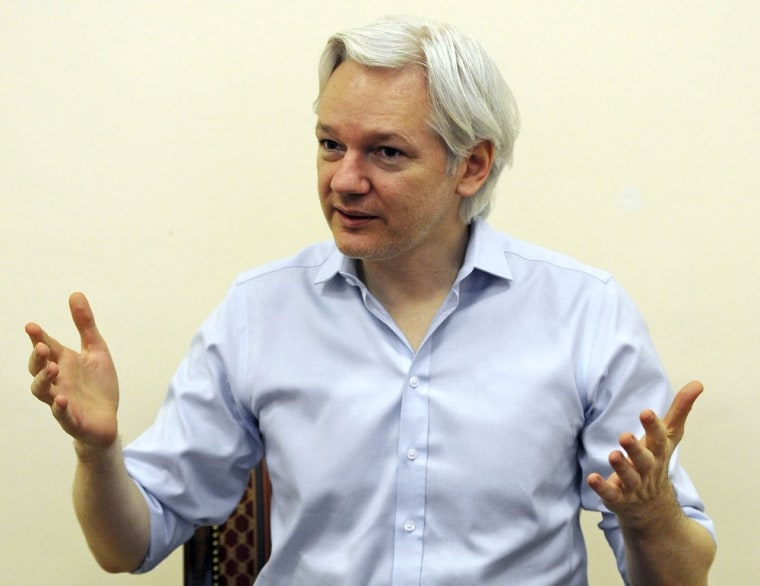 Wikileaks founder Julian Assange speaks to the media inside the Ecuadorian Embassy in London June 14, 2013.