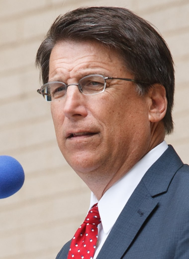 North Carolina Gov. Pat McCrory speaks during a National Day of Prayer observance at the Pitt County courthouse in Greenville, NC.