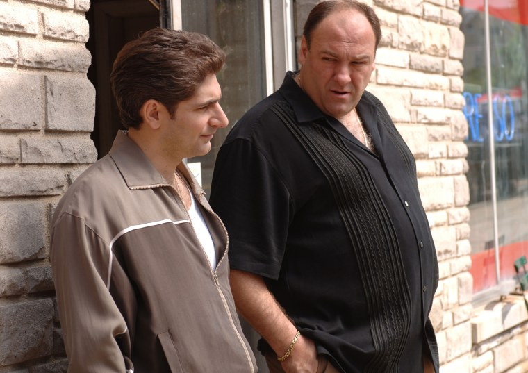 This undated publicity photo, released by HBO, shows actors Michael Imperioli, left, and James Gandolfini in a scene from the hit series