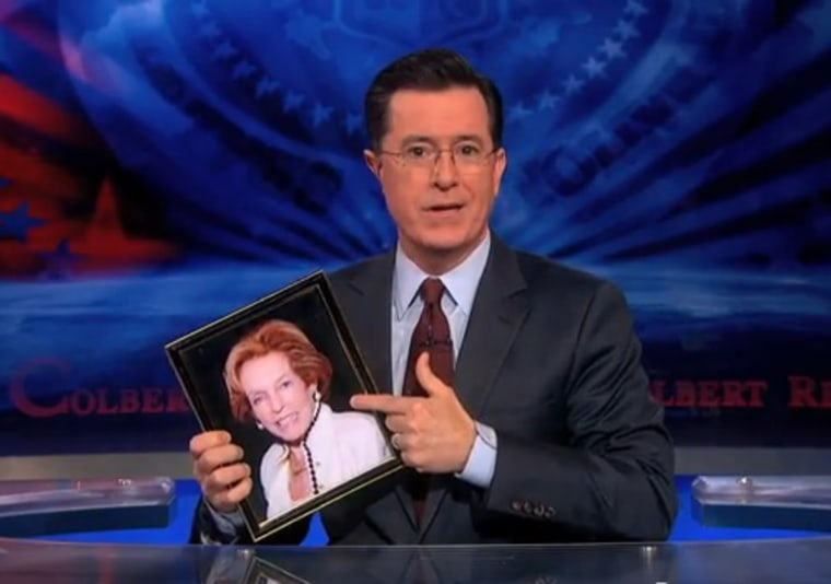 Image: Stephen Colbert holds up a photo of his mother, Lorna Colbert.
