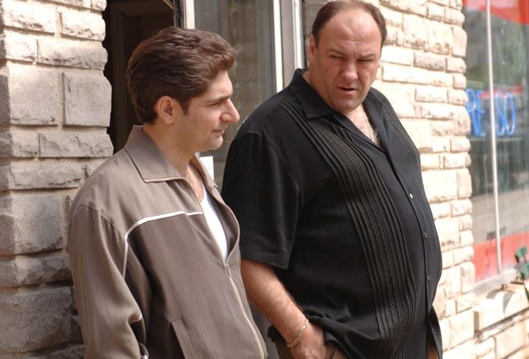 "Image: Michael Imperioli and James Gandolfini  appear in \""The Sopranos.\"""