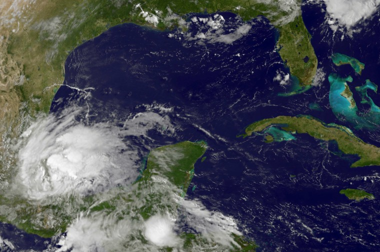 A satellite image from NASA showing Tropical Storm Barry hitting eastern Mexico.