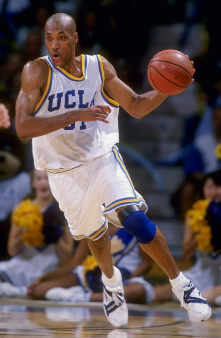 Forward Ed O''Bannon of the UCLA Bruins moves the ball during a game against the USC Trojans.