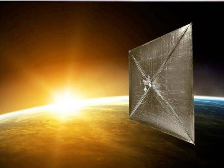 An artist's conception shows the Sunjammer solar sail deployed in orbit.