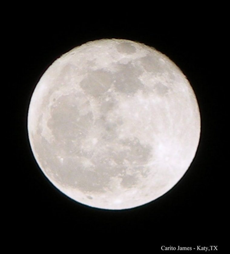 Carito James shot this photo of the full moon over Katy, Texas and sent it to Space.com on March 28.
