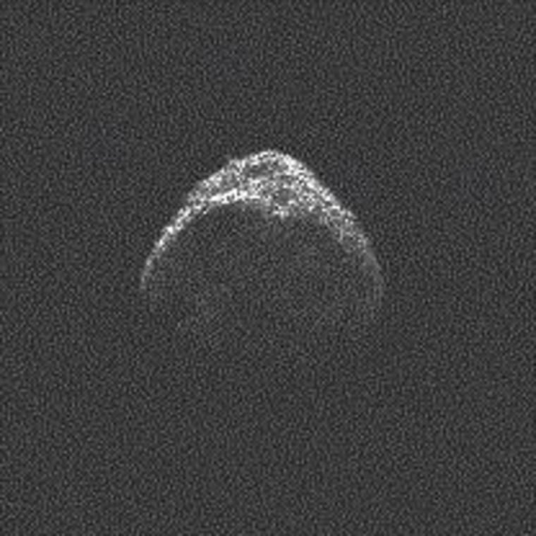 A radar image from the Arecibo Observatory shows asteroid 2012 LZ1 from a distance of 6 million miles (10 million kilometers), at a resolution of 25 feet (7.5 meters) per pixel.
