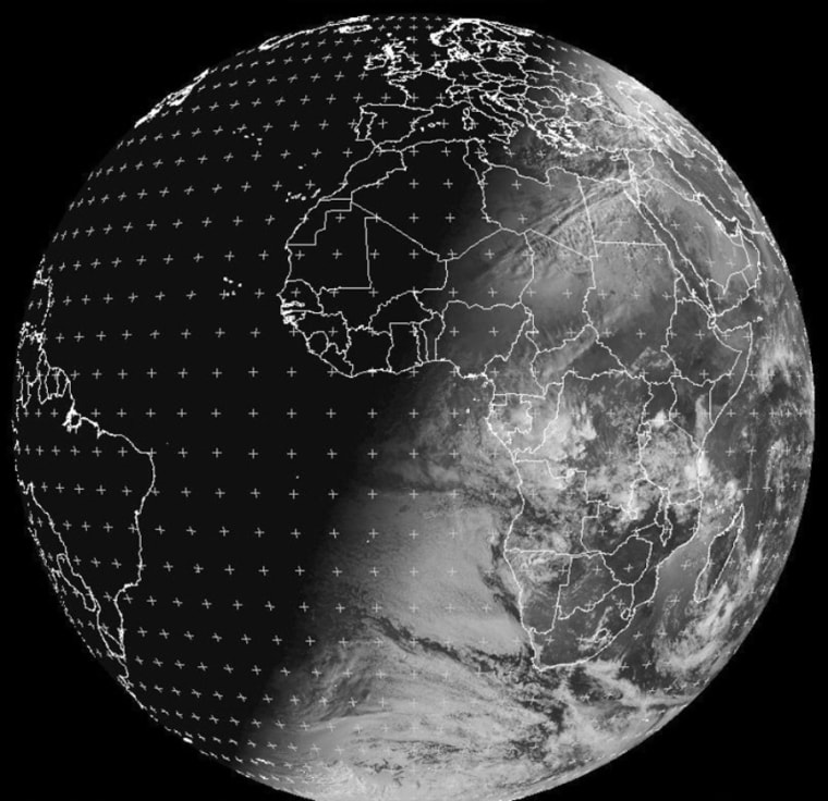 This picture of Earth was taken at 06:00 GMT on Dec. 21 by Eumetsat's Meteosat-9, a meteorological satellite that is stationed in geosynchronous orbit above a point close to Africa's west coast. The picture illustrates how Earth's tilt with respect to the sun creates the darkest night of the year for the Northern Hemisphere, and the longest stretch of daylight for the Southern Hemisphere.