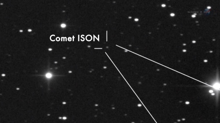 This still from a NASA video identifies comet C/2012 S1 (ISON), better known as Comet ISON, in a telescope image.