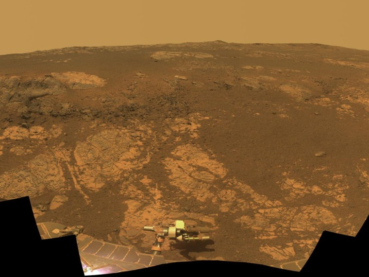 As NASA's Mars Exploration Rover Opportunity neared the ninth anniversary of its landing on Mars, the rover was working in the 'Matijevic Hill' area seen in this view from Opportunity's panoramic camera (Pancam). Images for this mosaic obtained Nov. 19 to Dec. 3, 2012.