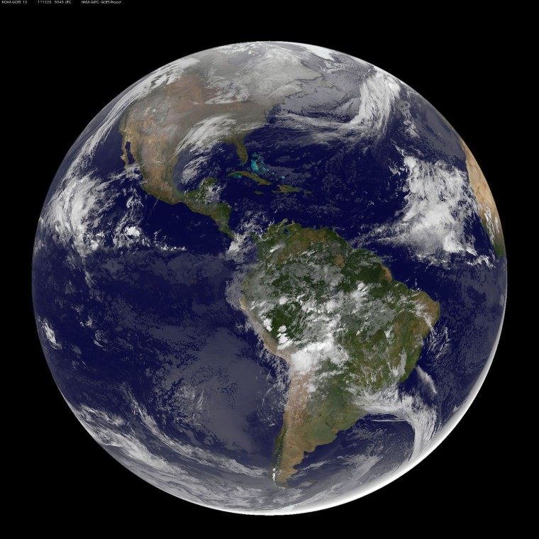 This full-disk picture of Earth, provided early today by NASA, is based on archival data from imaging instruments aboard the Aqua and Terra satellites plus fresh imagery from NOAA's GOES-East weather satellite.
