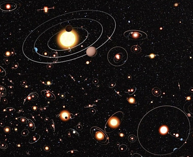 A cartoon view of the Milky Way shows stars bristling with planets. The planets, their orbits and the sizes of their host stars are all vastly magnified in the cartoon.