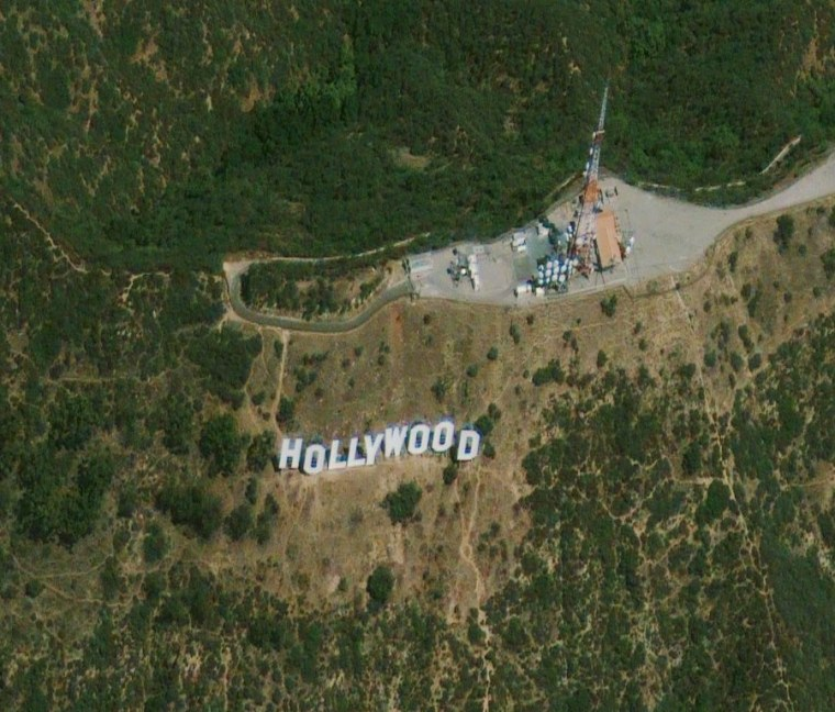 An image from the GeoEye1 satellite, acquired on June 7, 2009, shows the Hollywood sign in Los Angeles.