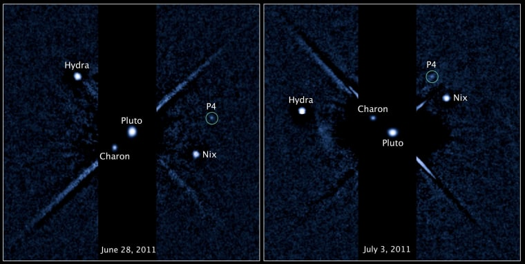 Hubble imagery from June 28 and July 3 show the changing positions of Pluto's four known moons, including a newly discovered satellite temporarily designated P4.