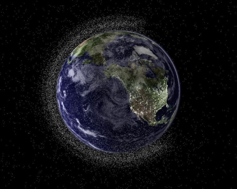 An image created by Australia's Electro Optic Systems (EOS) aerospace company shows a view of the Earth from geostationary height depicting swarms of space debris -- approximately 50,000 of the half-million or more debris objects greater than 1cm -- in Low Earth Orbit (LEO).