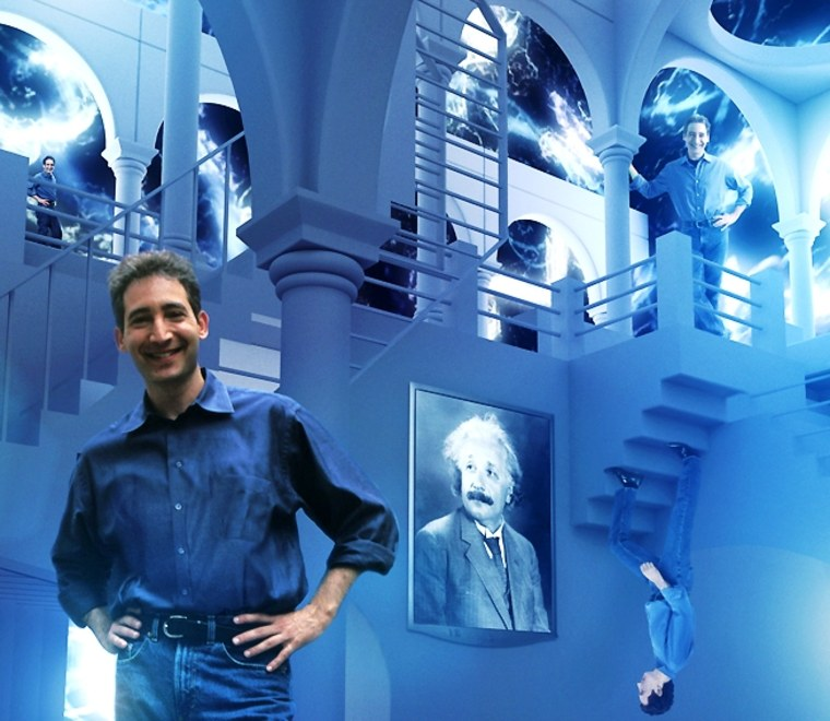 Columbia physicist Brian Greene inhabits a multiple-perspective landscape modeled after M.C. Escher's artwork in a scene from the NOVA series based on his 1999 best-seller,