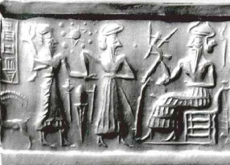 Zecharia Sitchin suggests that the star-shaped symbol and 11 other dots on this Sumerian cylinder seal, known as VA243, represent the sun, moon and 10 planets — including a mysterious world known as Nibiru. He further suggests that beings from Nibiru made alterations in the human genome. Mainstream experts on Sumerian cuneiform texts say Sitchin's interpretation is wrong.