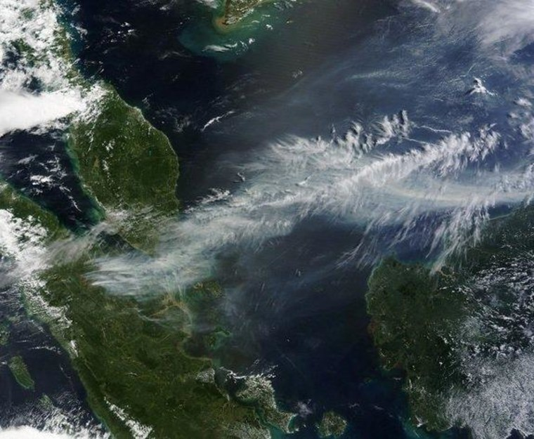 NASA's Terra and Aqua satellites captured striking images of the wildfires' smoke from space on Wednesday.