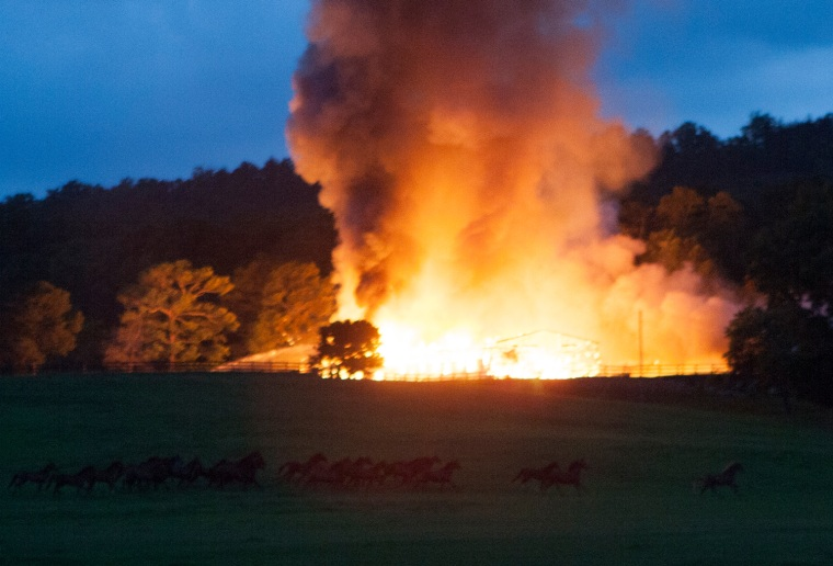 Two stables at Happy Valley Farms, a horse-breeding farm in Rossville, Ga., were destroyed in the blaze.