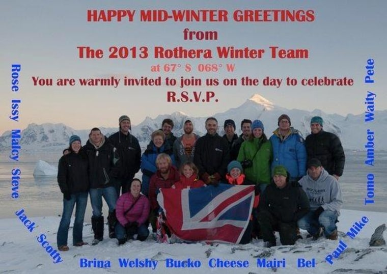 The 2013 Rothera Winter Team Midwinter Celebration invitation. Midwinter's Day is the shortest, darkest day in Antarctica, but the staff at the four wintering research stations think of the solstice like Christmas — complete with homemade gifts.