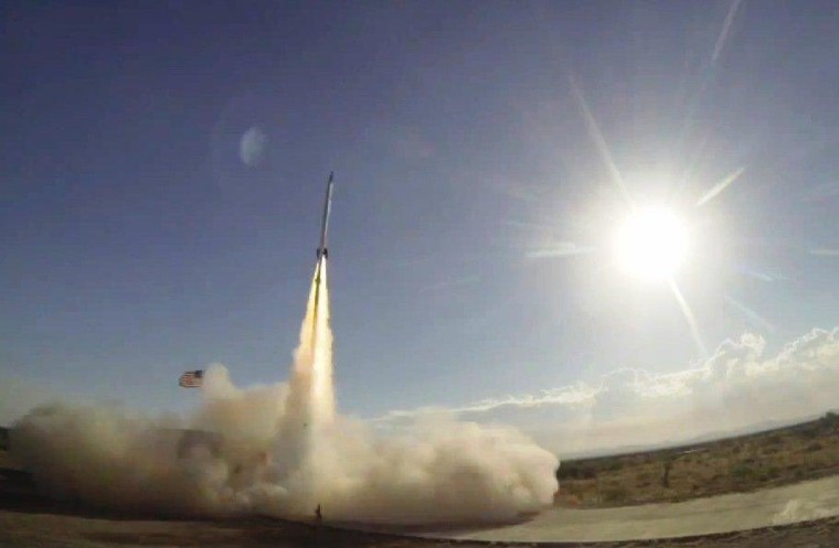UP Aerospace's SpaceLoft XL rocket lifts off from New Mexico's Spaceport America on Friday.