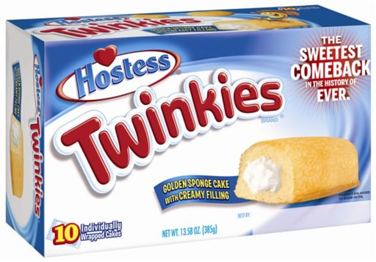 This undated image provided by Hostess Brands LLC shows a box of Twinkies. Twinkies will be back on shelves by July 15, 2013, after its predecessor co...
