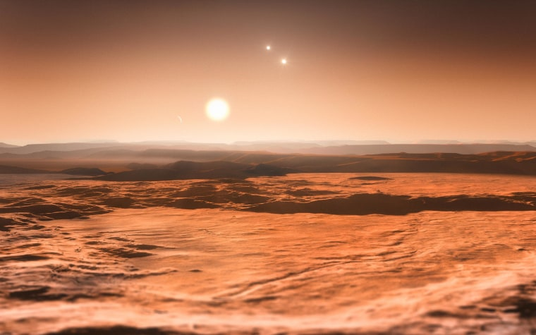 This artist's impression shows the view from the exoplanet Gliese 667Cd looking towards the planet's parent star (Gliese 667C). Image released on June 25, 2013.