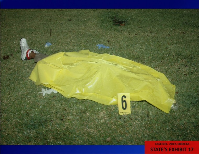 This crime scene photo presented by prosecutors for the State of Florida shows Trayvon Martin's body from the night of the shooting in February 2012. The photo was entered as evidence during George Zimmerman's trial in Seminole circuit court June 25, 2013 in Sanford, Fla. Zimmerman is charged with second-degree murder for the shooting death of Martin.